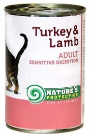 Корм для кошек Nature's Protection Консервы Cat Sensible Digestion Turkey & Lamb (0.4 кг) 1 шт.