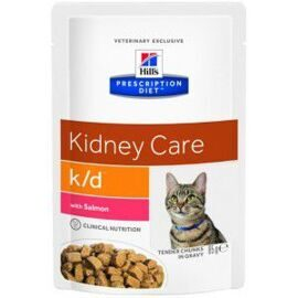 Корм для кошек Hill's (0.085 кг) 1 шт. Prescription Diet K/D Feline Tender Chunks in Gravy with Salmon