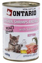 Корм для котят Ontario Kitten Chicken Schrimps Rice Salmon Oil (0.4 кг) 1 шт.