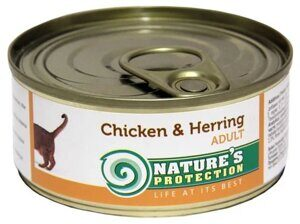 Корм для кошек Nature's Protection Консервы Cat Adult Chicken & Herring (0.1 кг) 1 шт.