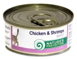 Корм для кошек Nature's Protection Консервы Cat Adult Chicken & Shrimps (0.1 кг) 1 шт.